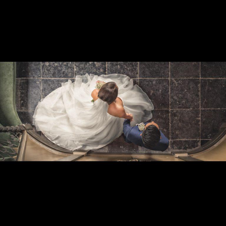 portret van een bruid en bruidegom